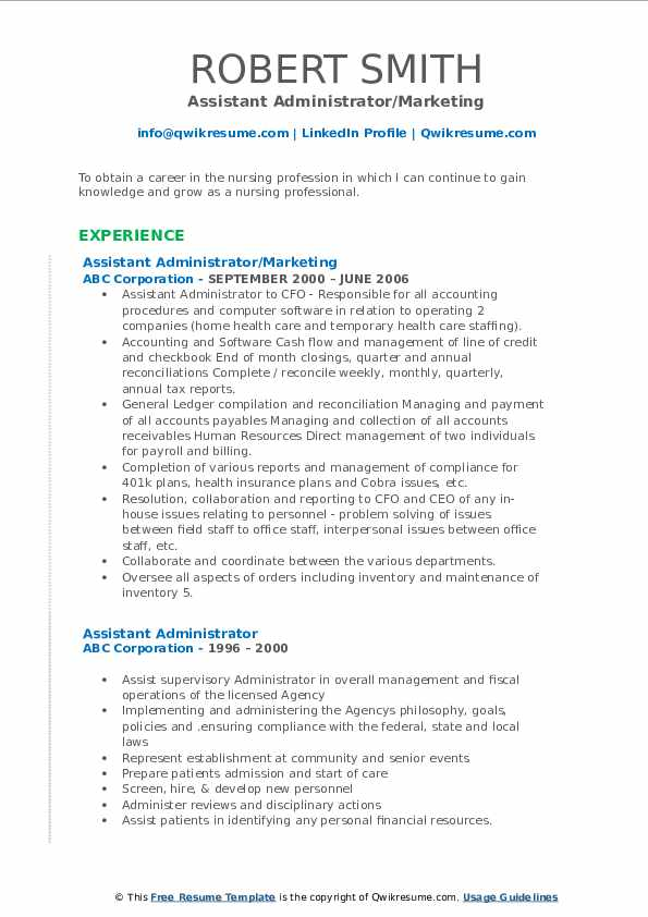 Assistant Administrator/Marketing Resume Format
