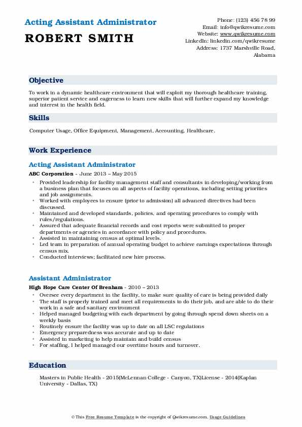 Acting Assistant Administrator Resume Format