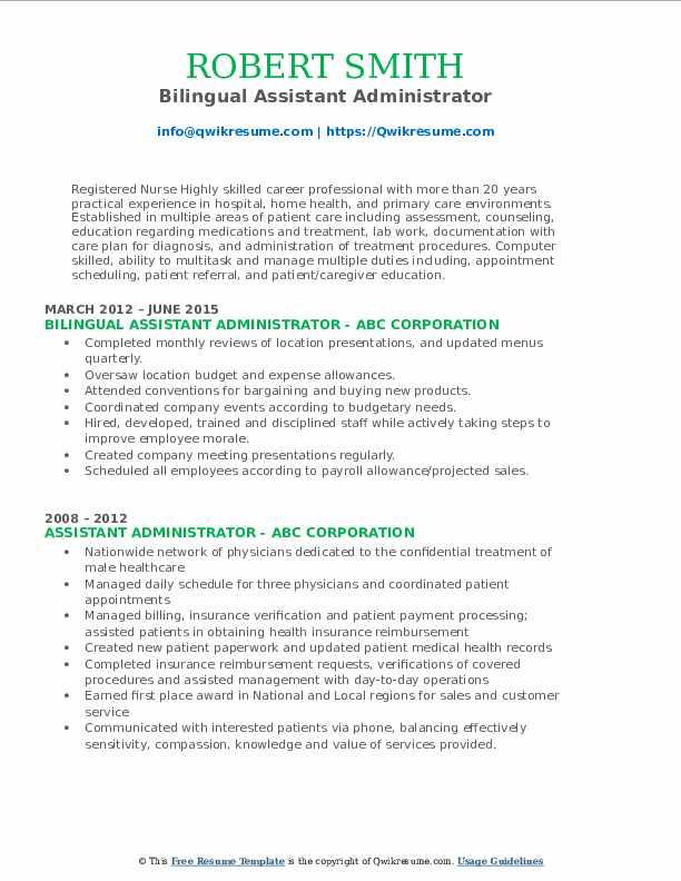 Bilingual Assistant Administrator Resume Format