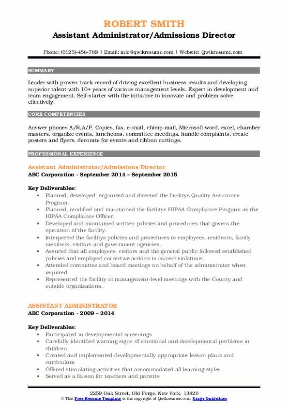 Assistant Administrator/Admissions Director Resume Template