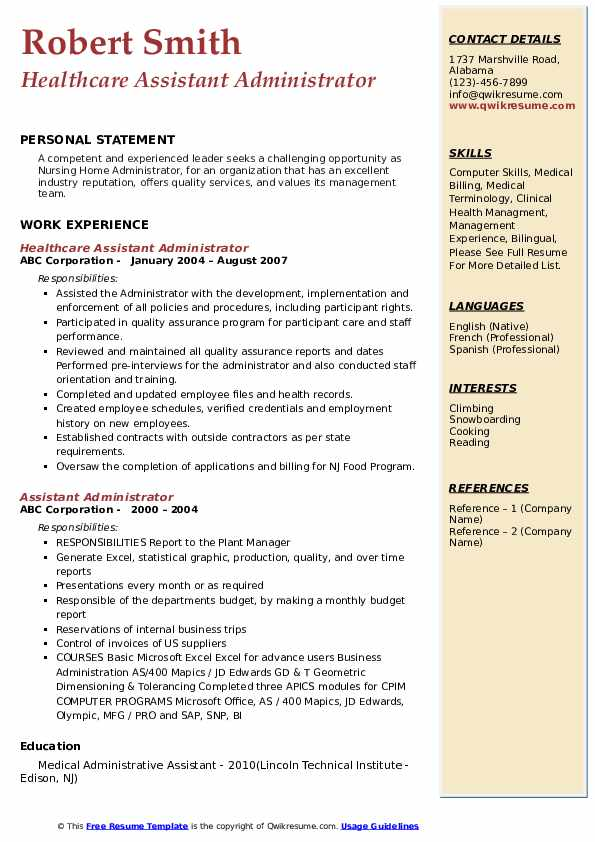 Healthcare Assistant Administrator Resume Template