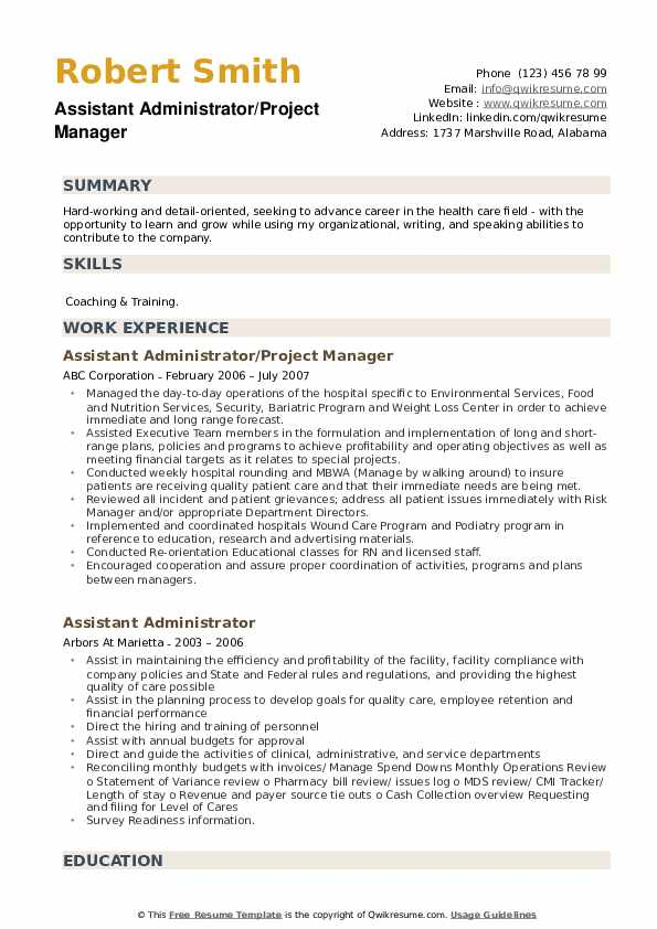 Assistant Administrator/Project Manager Resume Sample