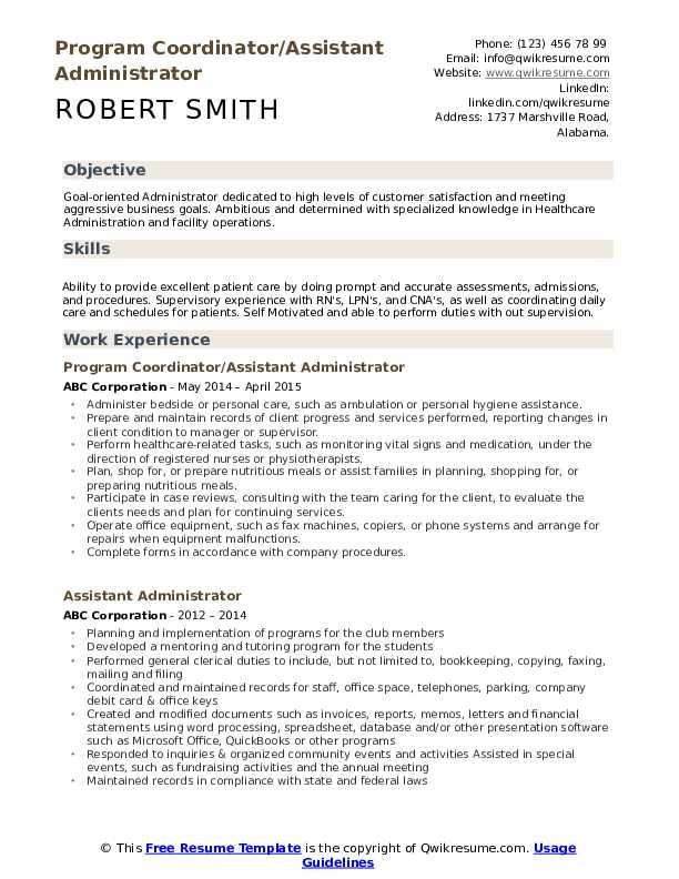 Program Coordinator/Assistant Administrator Resume Template