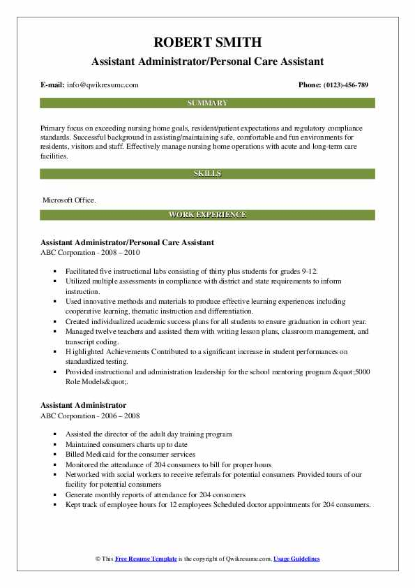 Assistant Administrator/Personal Care Assistant Resume Model