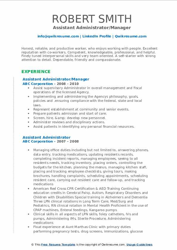 Assistant Administrator/Manager Resume Sample