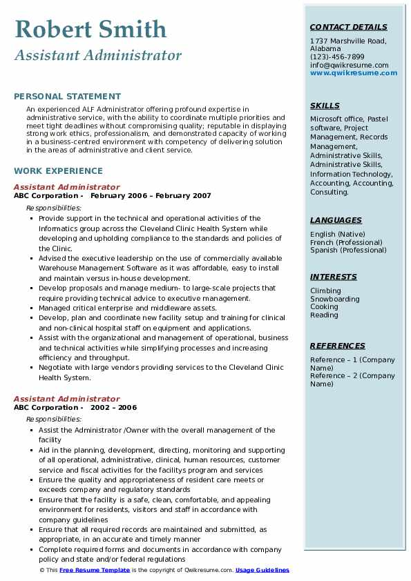 Assistant Administrator Resume example