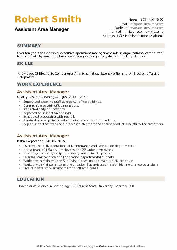 Assistant Area Manager Resume example