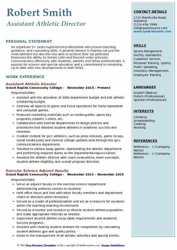 assistant athletic director resume samples