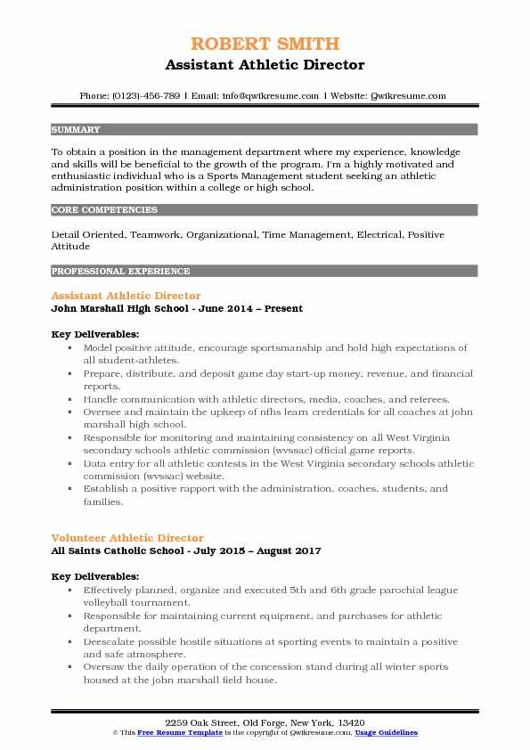 Assistant Athletic Director Resume Samples Qwikresume