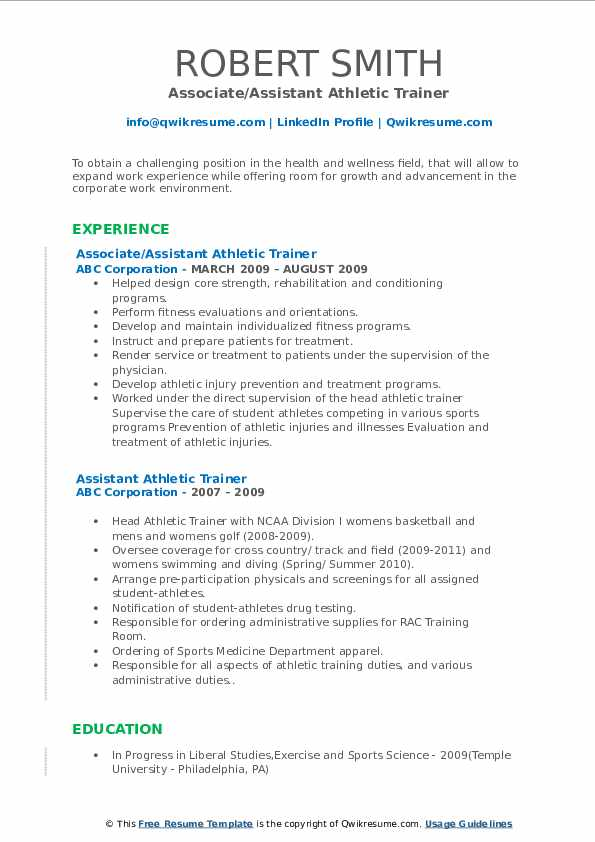 assistant athletic trainer resume samples  qwikresume
