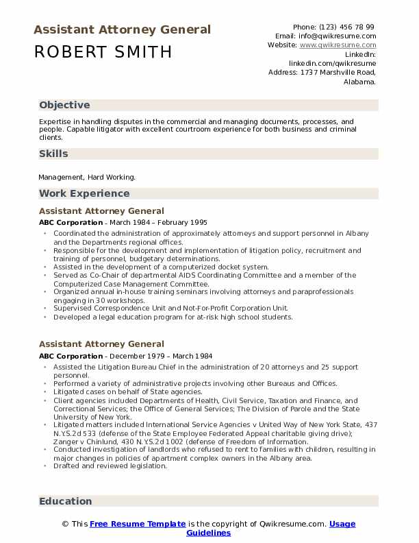 Assistant Attorney General Resume example