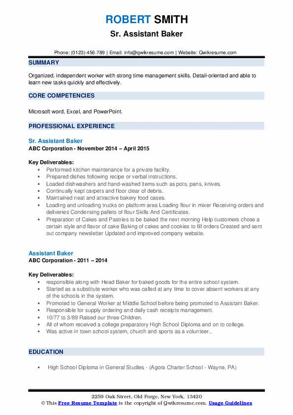 assistant baker resume samples  qwikresume