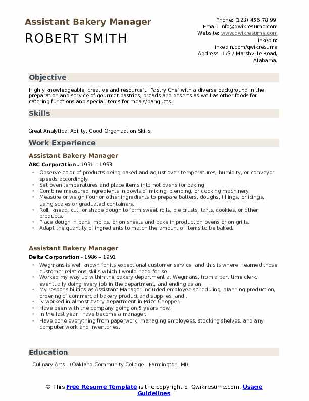 assistant bakery manager resume samples  qwikresume