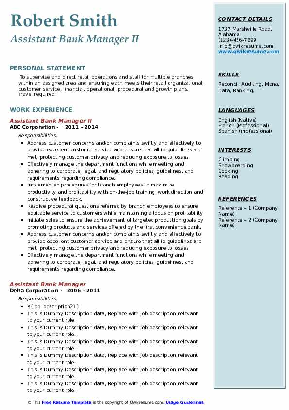 assistant bank manager resume samples  qwikresume