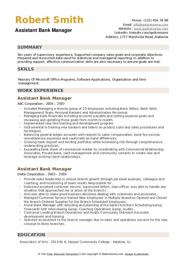 Assistant Bank Manager Resume example