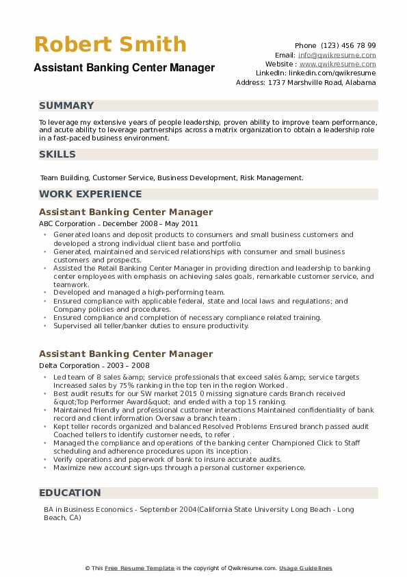 Assistant Banking Center Manager Resume example