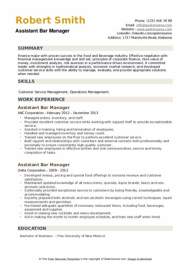 Assistant Bar Manager Resume example