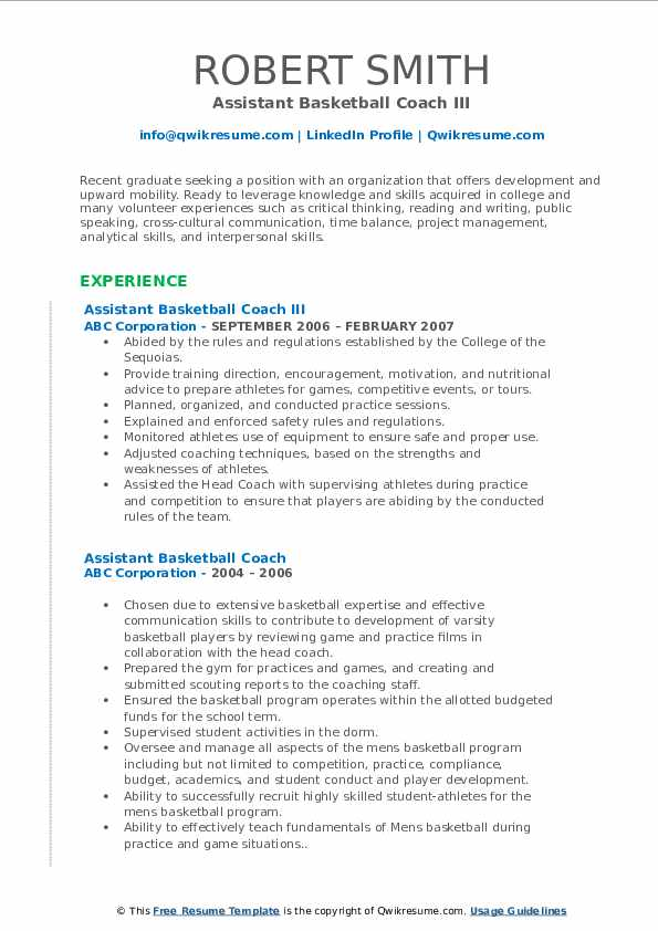 assistant basketball coach resume samples