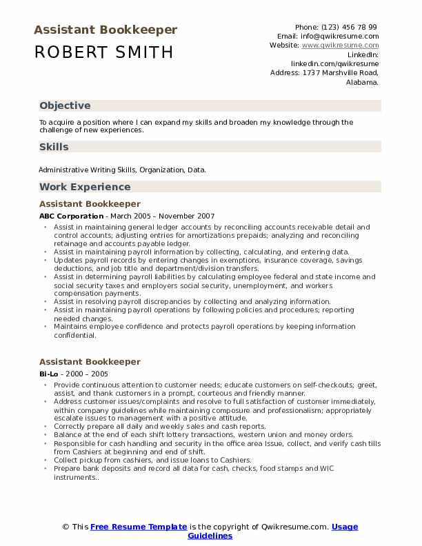 Assistant Bookkeeper Resume Model