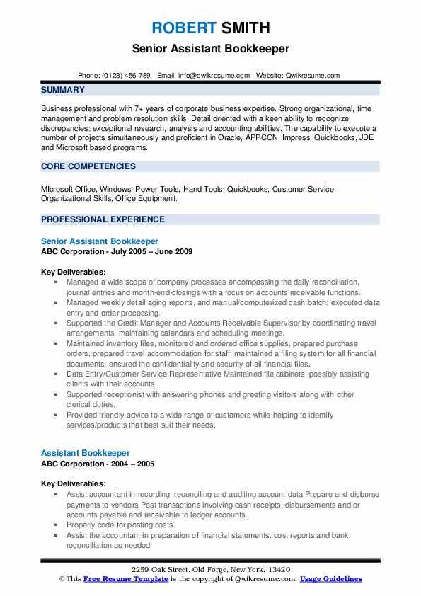 Senior Assistant Bookkeeper Resume Format