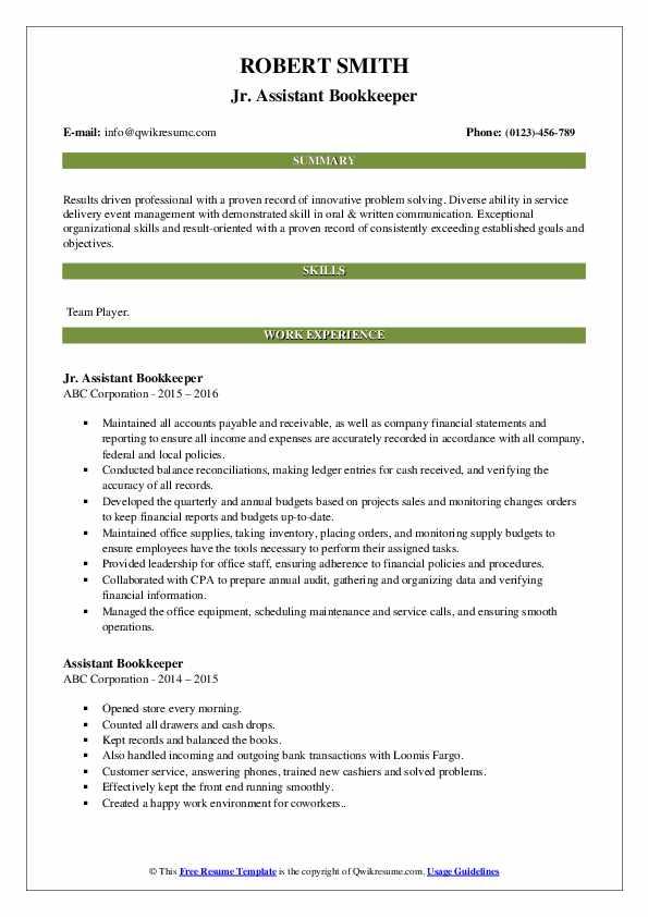 Jr. Assistant Bookkeeper Resume Model