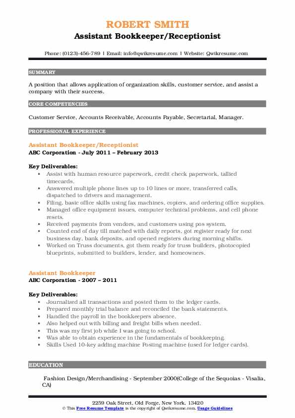 Assistant Bookkeeper/Receptionist Resume Example