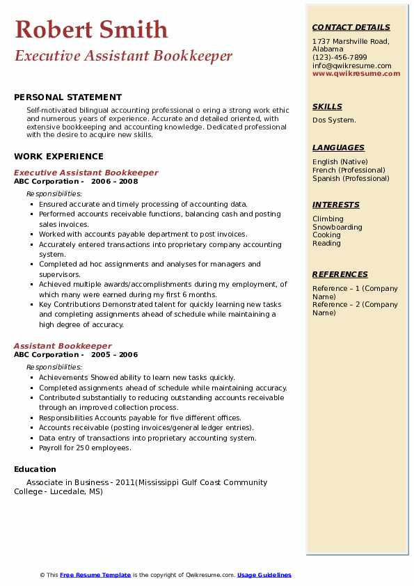 Executive Assistant Bookkeeper Resume Sample