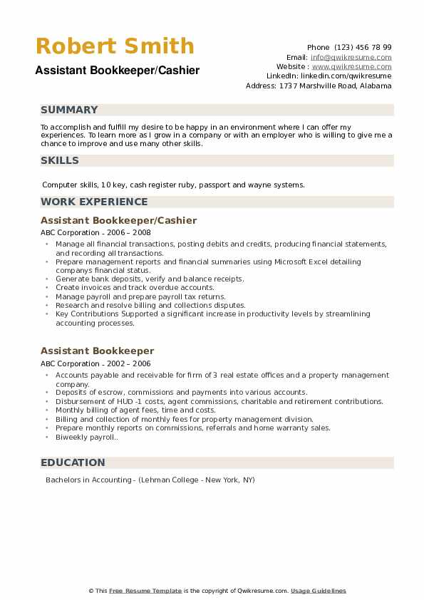 Assistant Bookkeeper/Cashier Resume Example