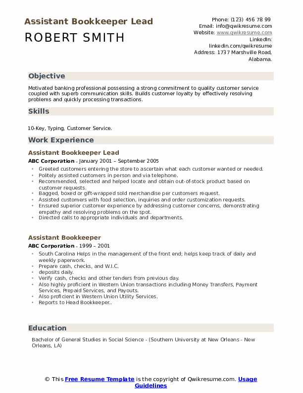 Assistant Bookkeeper Lead Resume Template