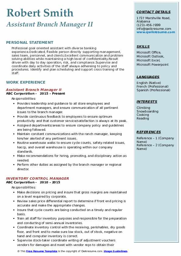 Assistant Branch Manager II Resume Sample