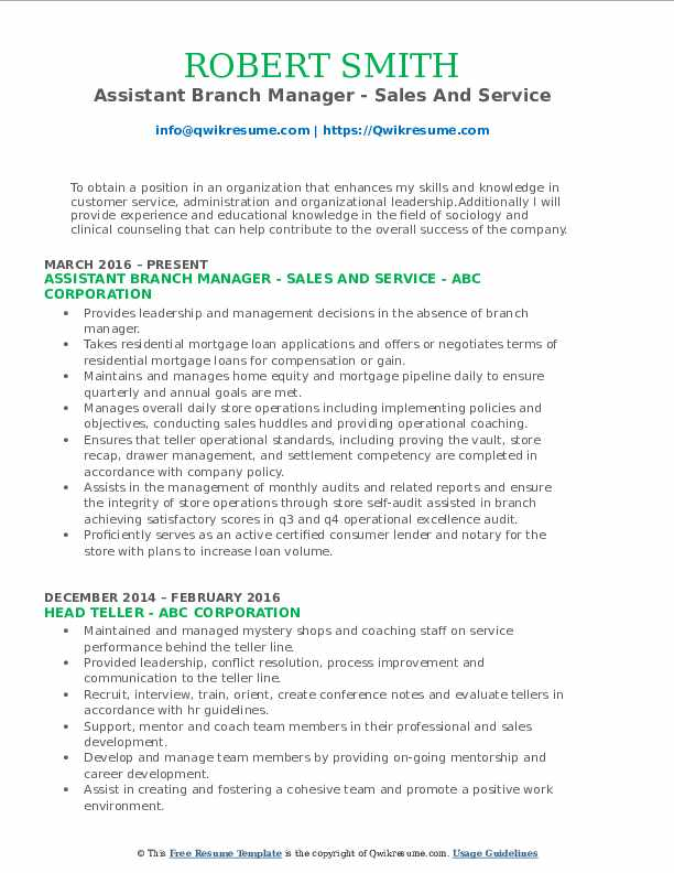 Assistant Branch Manager - Sales And Service Resume Format