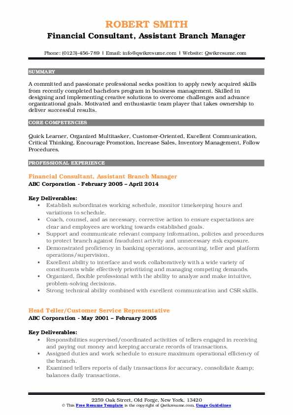 Financial Consultant Assistant Branch Manager Resume Model