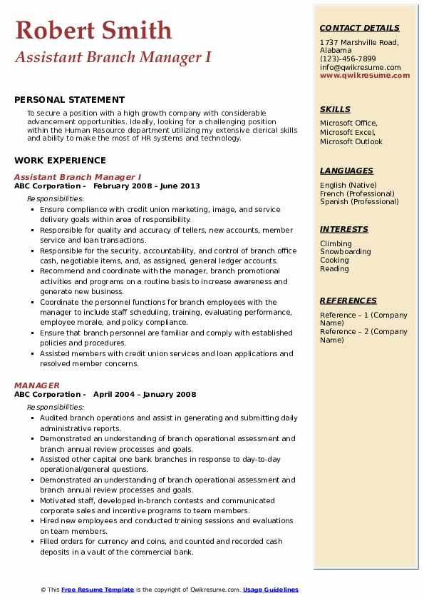 Assistant Branch Manager I Resume Example