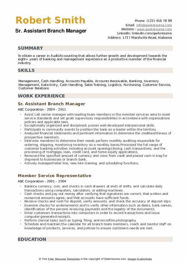 Sr. Assistant Branch Manager Resume Sample