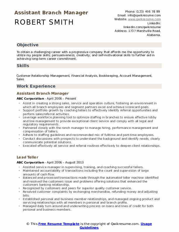Assistant Branch Manager Resume example