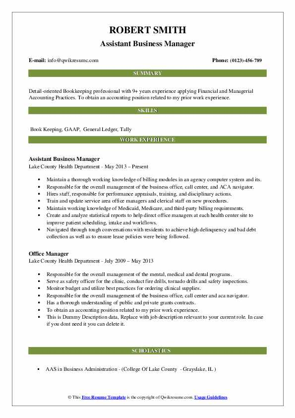 Assistant Business Manager Resume Model