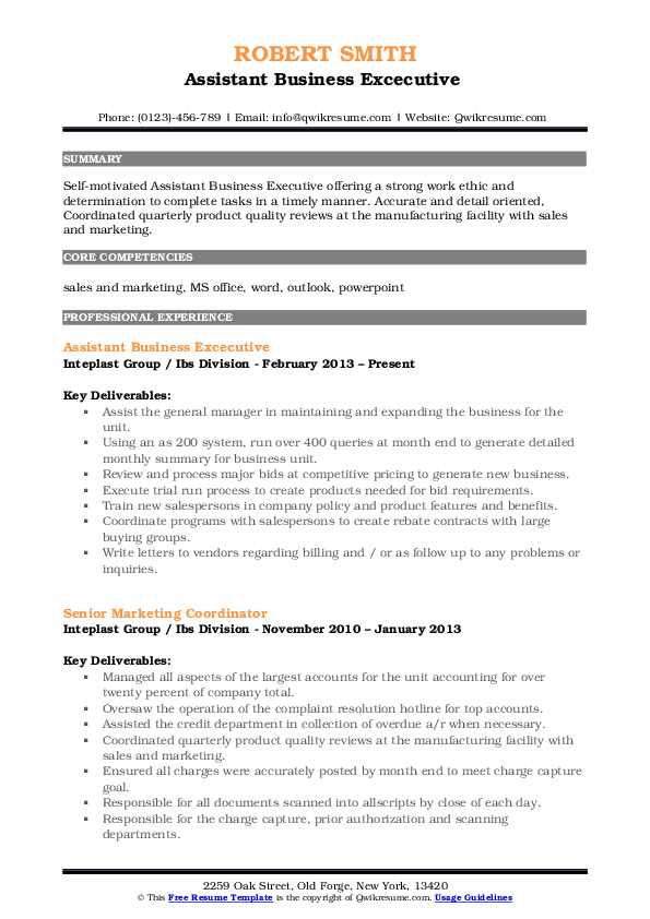 Assistant Business Excecutive  Resume Example