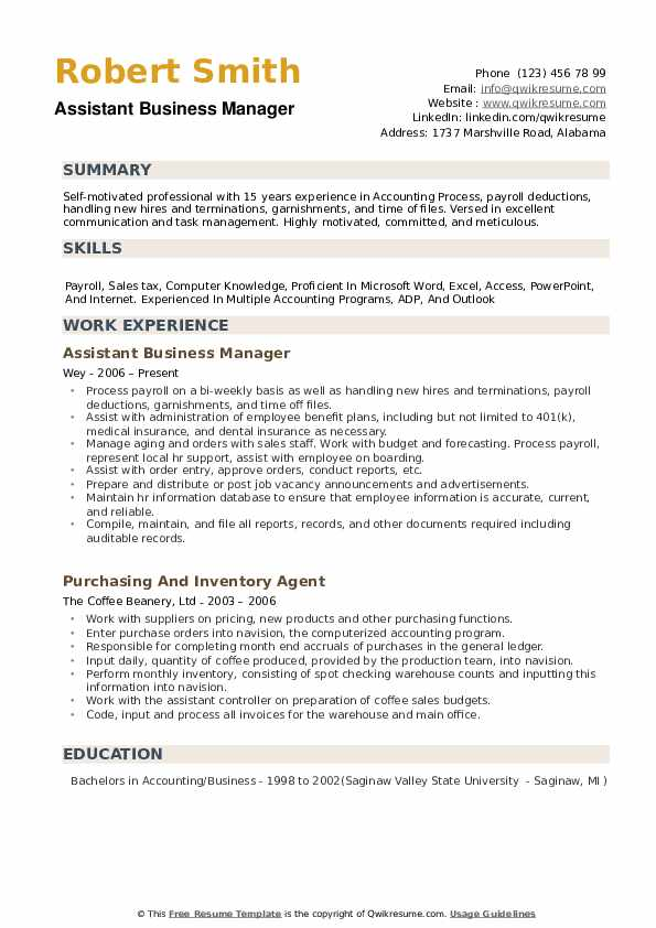 Assistant Business Manager Resume Format