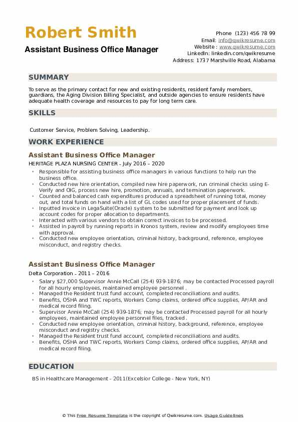 Assistant Business Office Manager Resume example