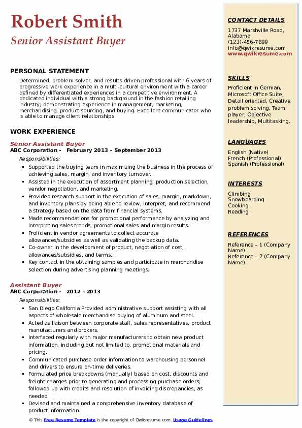 assistant buyer resume samples