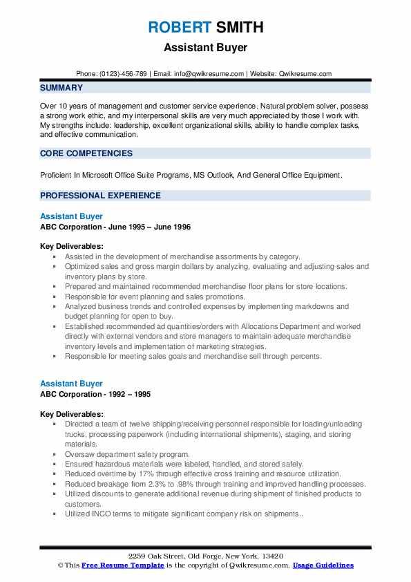 Assistant Buyer Resume example