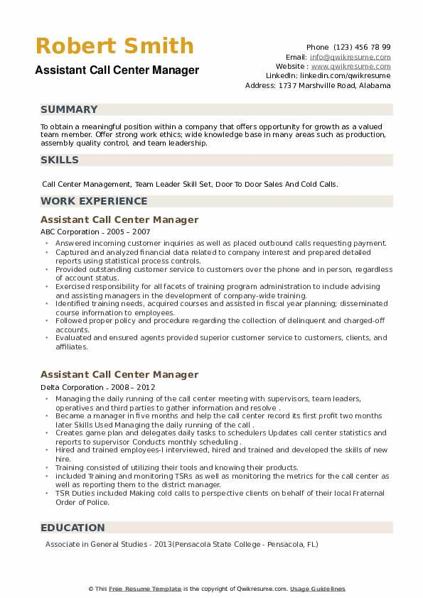 Assistant Call Center Manager Resume example