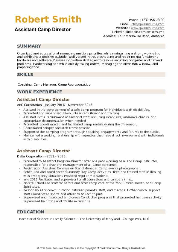 Assistant Camp Director Resume example