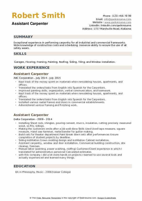 Assistant Carpenter Resume example