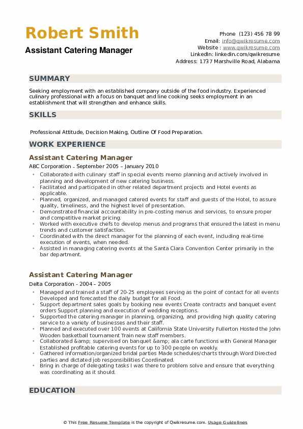 Assistant Catering Manager Resume example