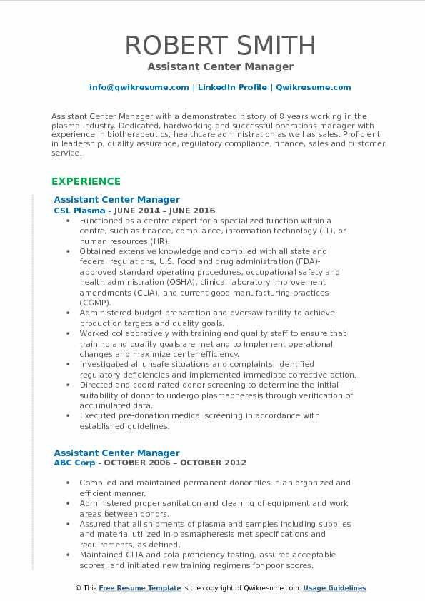 Assistant Center Manager Resume Template