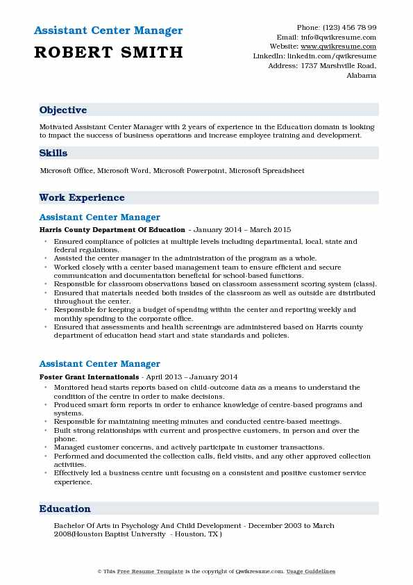 Assistant Center Manager Resume Format