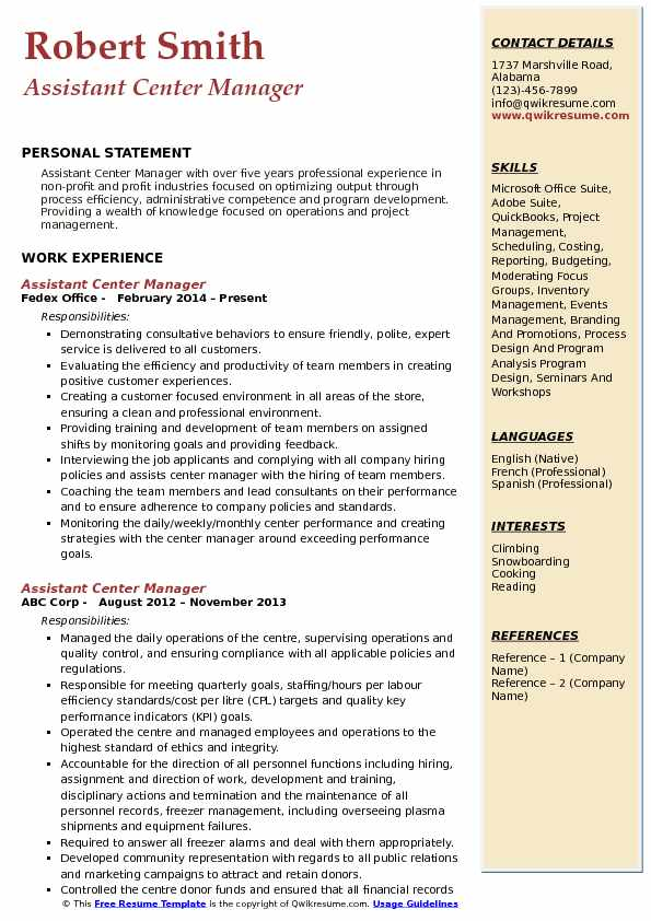 Assistant Center Manager Resume Sample