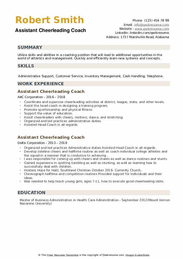 Assistant Cheerleading Coach Resume example