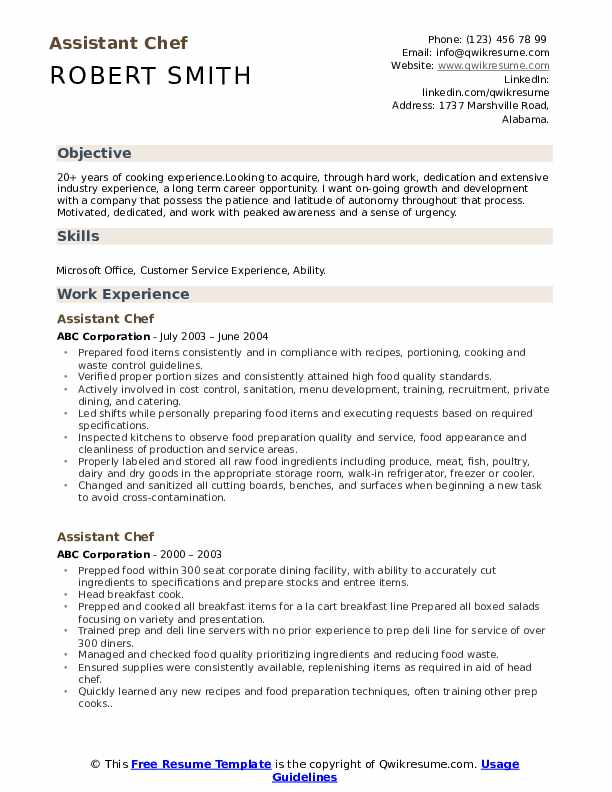 Assistant Chef Resume Samples | QwikResume